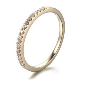 Yellow Gold Half Pave Diamond Eternity Band